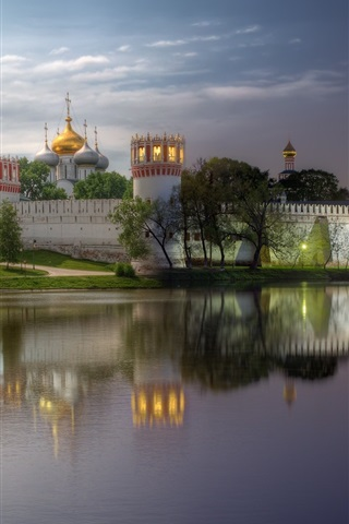 iPhone Wallpaper Monastery, Moscow, evening, river, water reflection