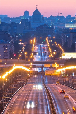 iPhone Wallpaper Moscow, Russia, lights, evening, city, road, cars, buildings