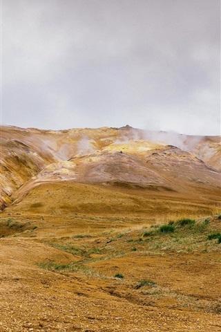 iPhone Wallpaper Mountains, geyser, stones, grass, steam