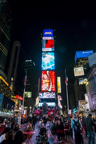 iPhone Wallpaper New York, Times Square, Manhattan, USA, skyscraper, street, people, night