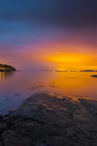 iPhone Wallpaper Norway, bay, sea, archipelago, trees, sunset