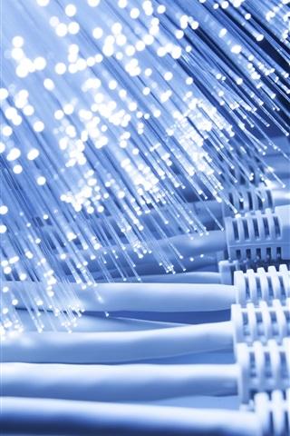 iPhone Wallpaper Optic fiber, light, network
