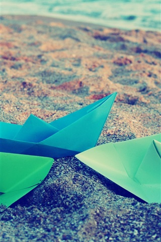 iPhone Wallpaper Origami, paper boats, sea, beach