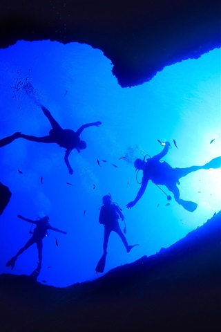 Fonds D Ecran Ocean Pacifique Recif Plongeur Trou Bleu