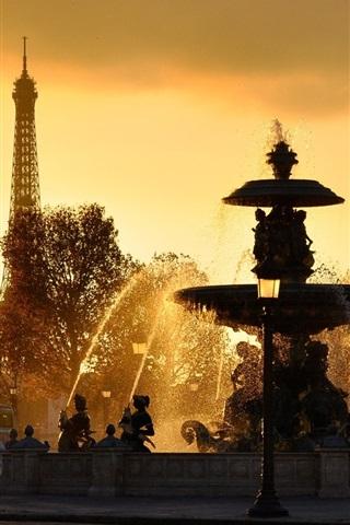 iPhone Wallpaper Paris, France, fountains, water splash, Eiffel Tower, sunset