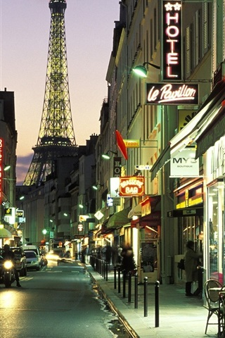 Paris City Street At Night Cafe Bar Lights Cars Road 640x960 Iphone 4 4s Wallpaper Background Picture Image
