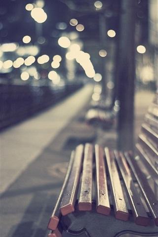 iPhone Wallpaper Park, bench, bokeh, evening