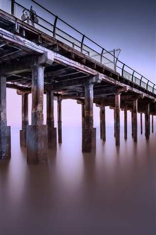 iPhone Wallpaper Pier, sea, dusk