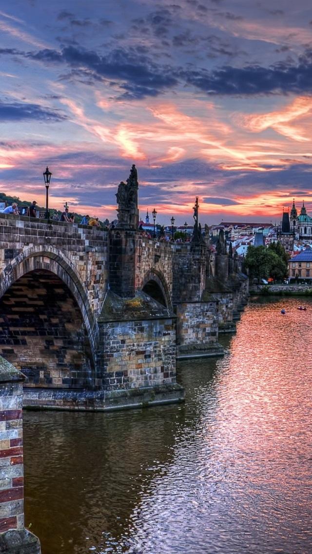 Prague Czech Republic Bridge River Boats Houses Dusk