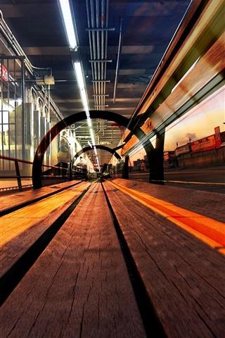 iPhone Wallpaper Railroad, track, city, lights