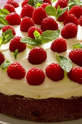 iPhone Wallpaper Raspberry cake, cream, dessert