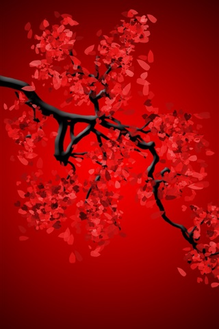 iPhone Wallpaper Red flowers, twigs, creative picture