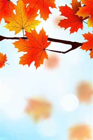 iPhone Wallpaper Red maple leaves, twigs, art picture