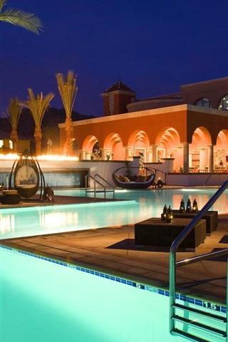 iPhone Wallpaper Resort, evening, pool, chair, sofa