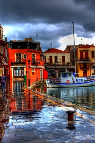 iPhone Wallpaper Rethymno, Greece, houses, street, boats, HDR style