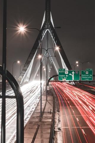 iPhone Wallpaper Road, light lines, bridge, city, night