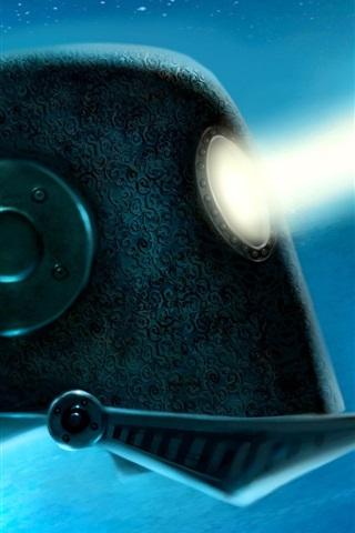 iPhone Wallpaper Robot, eye, rays
