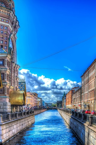 iPhone Wallpaper Saint Petersburg, street, houses, river, HDR style