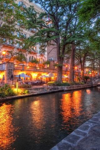 iPhone Wallpaper San Antonio, Texas, city, river, street, trees, buildings, lights, evening