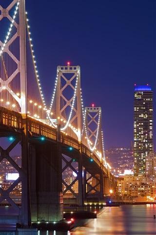 iPhone Wallpaper San Francisco, bridge, lights, river, night, USA