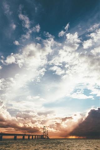 iPhone Wallpaper Sea, bridge, clouds, sun rays, sunset