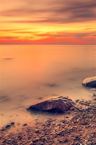 iPhone Wallpaper Sea, red sky, coast, stones, sunset