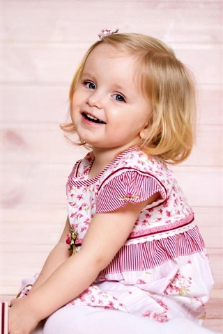 iPhone Papéis de Parede Cabelo curto menina, sorriso, criança