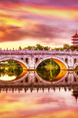 iPhone Wallpaper Singapore, Chinese Garden, bridge, lake, beautiful sunset