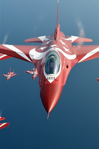 iPhone Wallpaper Singapore air force, F-16 Black Knights fighter