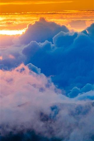 iPhone Wallpaper Sky, clouds, sunset, glow