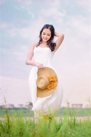 iPhone Wallpaper Smile Asian girl, white dress, hat, brown horse
