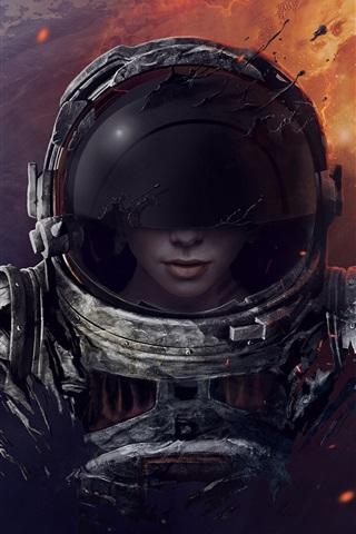 iPhone Wallpaper Space, astronaut, girl