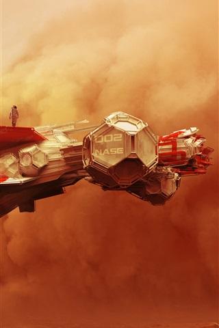 iPhone Wallpaper Spaceship, clouds, desert, creative design