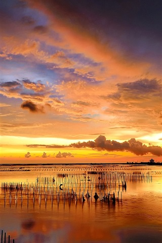 iPhone Wallpaper Sunset, sea, fence, clouds, beautiful nature landscape