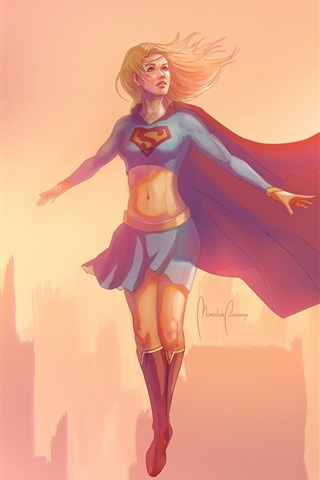 iPhone Wallpaper Supergirl, flying, wind, city, art picture
