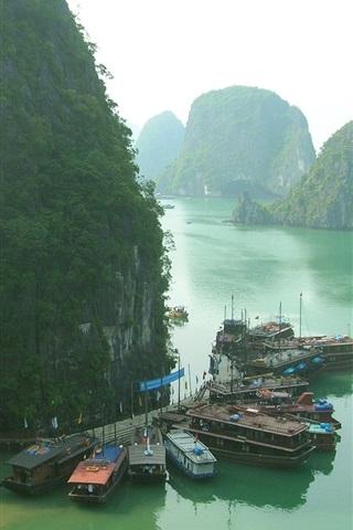 iPhone Wallpaper Thailand, boats, pier, islands, morning
