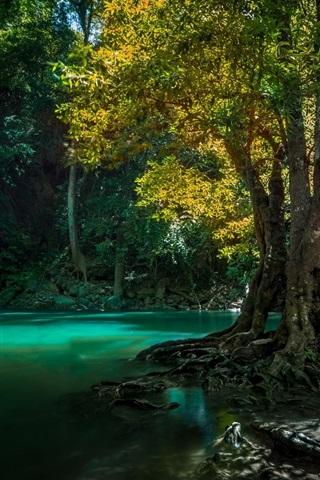 iPhone Wallpaper Thailand, waterfall, trees, creek
