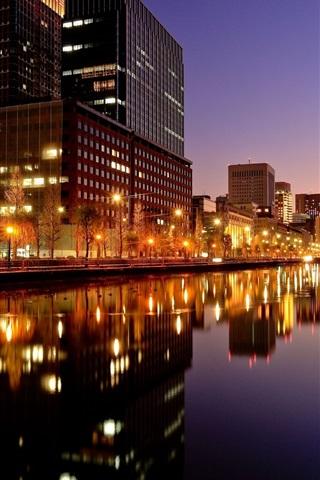 iPhone Wallpaper Tokyo, city night, buildings, lights, river, Japan
