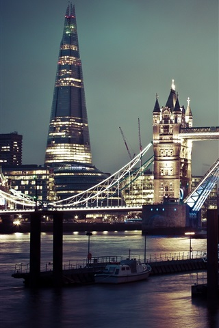 iPhone Wallpaper Tower Bridge, river, boats, night, city, London