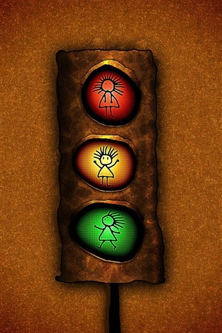 iPhone Wallpaper Traffic light, red yellow and green