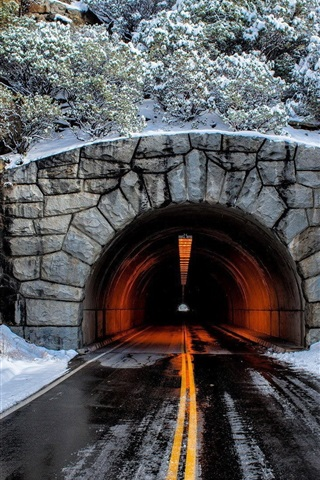 iPhone Wallpaper Tunnel, road, mountain, trees, snow, winter
