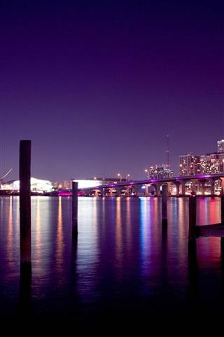 iPhone Wallpaper USA, Miami, bridge, river, night, skyscrapers, lights