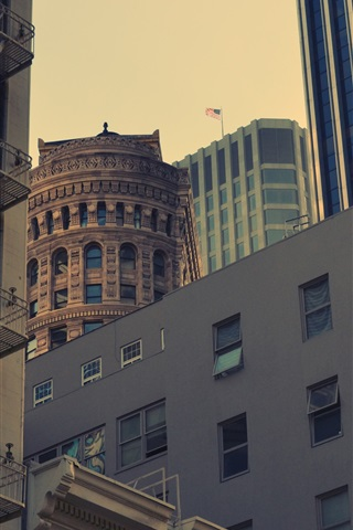 iPhone Wallpaper USA, city, skyscrapers, dusk
