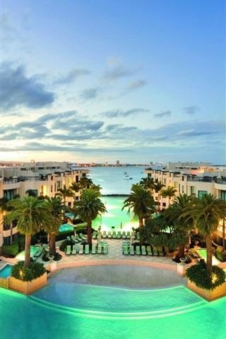 iPhone Wallpaper Villa, houses, sea, swim pool, palm trees, dusk