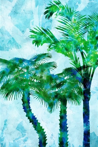 iPhone Wallpaper Watercolor painting, palm trees