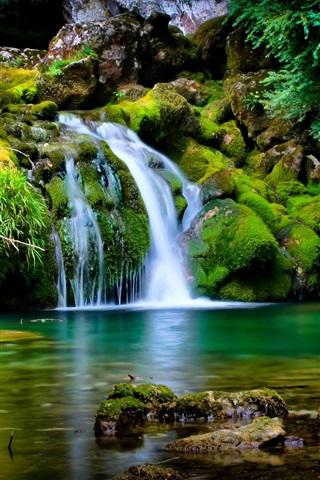 iPhone Wallpaper Waterfall, moss, stones, nature