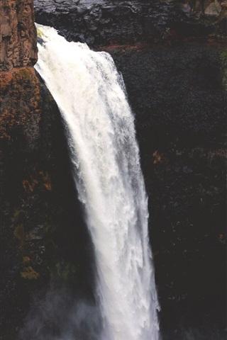 iPhone Wallpaper Waterfall, stream, precipice