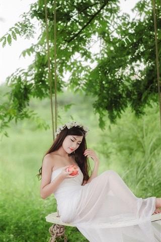 iPhone Wallpaper White dress Asian girl, swing, apple, forest