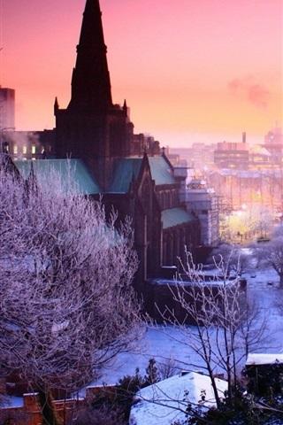 iPhone Wallpaper Winter, city, dusk, trees, snow, houses, lights