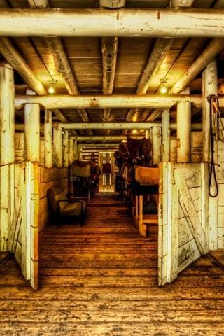 iPhone Wallpaper Wooden house, horses, door, channel